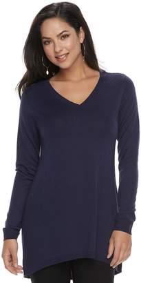 Apt. 9 Petite High-Low V-Neck Tunic Sweater