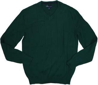 John Ashford Mens Ribbed Knit V-Neck Pullover Sweater Green XL