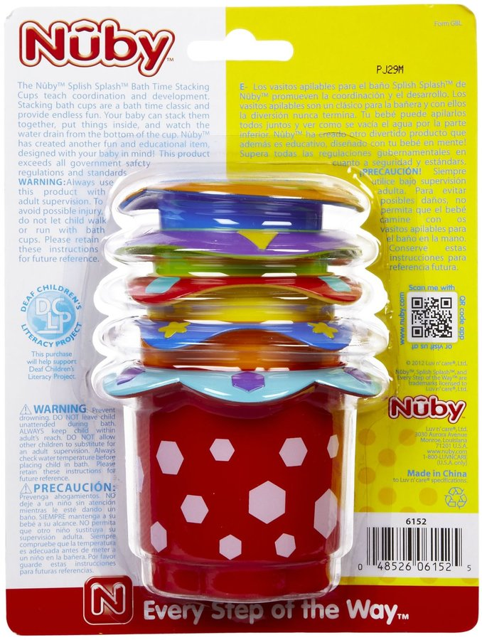 Nuby Splish Splash Stackin Cups - Multicolor - 5 ct