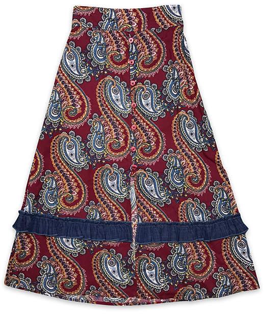 Burgundy Paisley Emmaline Maxi Skirt - Girls
