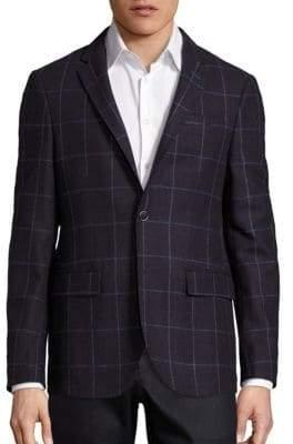Saks Fifth Avenue Bordeau Window Pane Wool Jacket