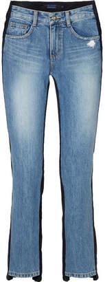 Sjyp Corduroy-paneled Mid-rise Straight-leg Jeans