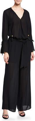MICHAEL Michael Kors Split-Neck Long-Sleeve Wide-Leg Tie-Waist Wrap Jumpsuit