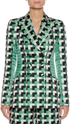 Emporio Armani Double-Breasted Geometric-Jacquard Blazer with Quilted Detail