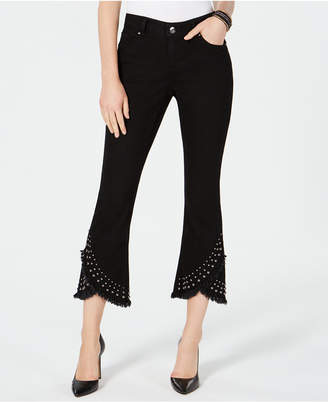 INC International Concepts I.n.c. Cropped Studded Tulip-Hem Jeans, Created for Macy's