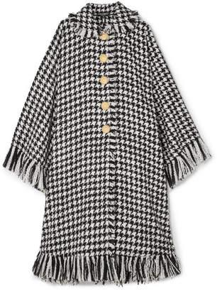 Dolce & Gabbana Oversized Fringed Houndstooth Wool-blend Cape - Black