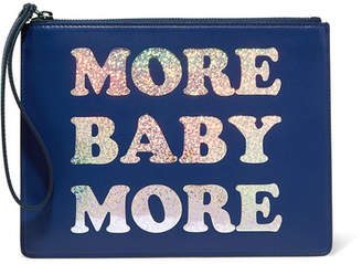 Christopher Kane More Baby More Printed Leather Clutch - Blue
