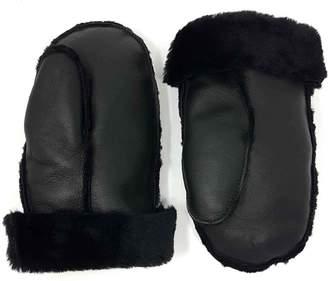 N'damus London Aviator Black Shearling Sheepskin Wool & Leather Mittens