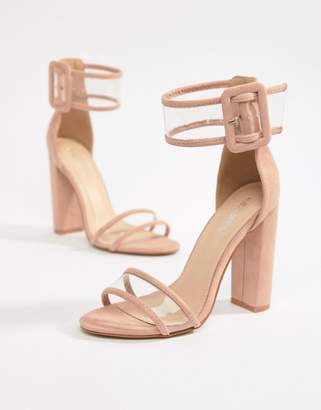 0035faec7b12 Public Desire Mission Dusty Pink Clear Strap Block Heeled Sandals