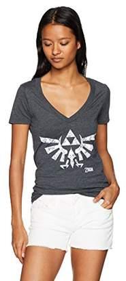 Nintendo Women's Zelda Floral Triforce Logo V-Neck Graphic T-Shirt