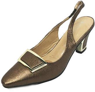 Whittall & Shon Womens Twiggy Slingbacks Pumps Closed Toe Cone Heel