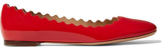 Chloé Lauren Scalloped Patent-leather Ballet Flats - Red