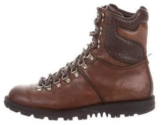 Gucci Leather Round-Toe Hiking Boots