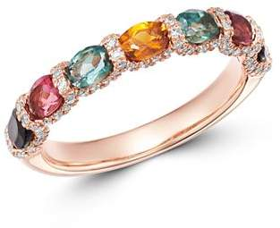 Bloomingdale's Rainbow Tourmaline & Diamond Band in 14K Rose Gold - 100% Exclusive