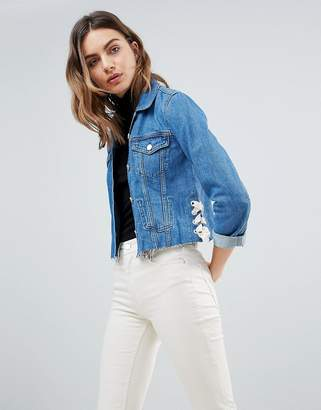 French Connection Lace Up Denim Jacket