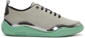 Lanvin Grey and Green Contrast Sneakers