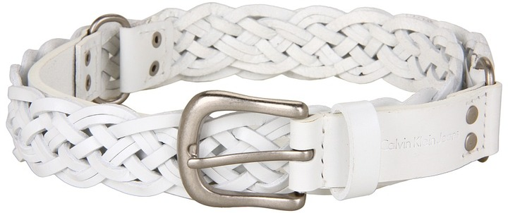 Calvin Klein - 1 Buckle w/ Smith Tabs, Logo, Rings and Panel (White) - Apparel
