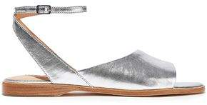 Halston Meg Metallic Textured-leather Sandals