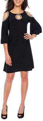 MSK 3/4 Sleeve Cold Shoulder Embellished Shift Dress