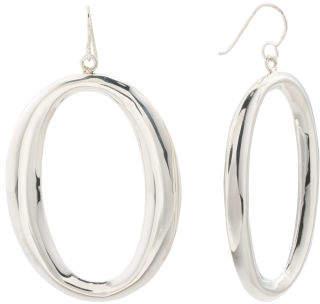 Handmade In Mexico Sterling Silver Oval Hoop Earrings