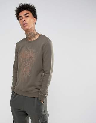 Black Kaviar Sweatshirt In Khaki With Phoenix Embroidery