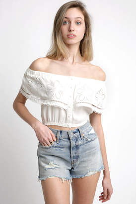 Lost + Wander Off The Shoulder Floral Ruffle Crop Top