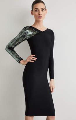 BCBGMAXAZRIA Sequined Sleeve Bodycon Dress