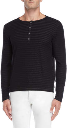 John Varvatos Black Stripe Long Sleeve Henley