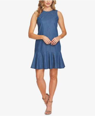 CeCe Cotton Bow-Detail Denim Dress