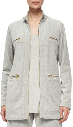 Joan Vass Velour 4-Pocket Long Jacket, Petite