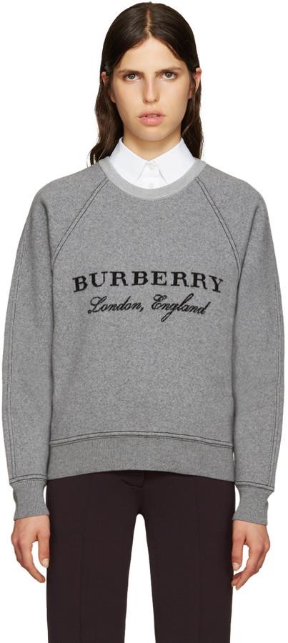 Burberry Grey Wool Logo Sweater
