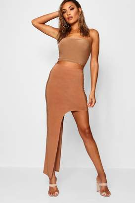 boohoo Extreme Thigh High Split Midaxi Skirt