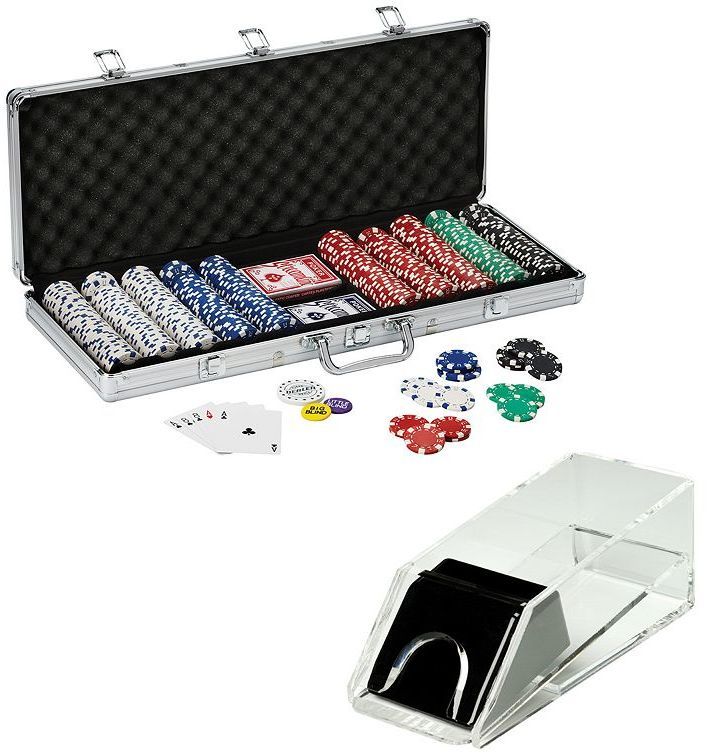 Fat cat Texas Hold'em Poker Chips & Acrylic Card Shoe Set by Fat Cat