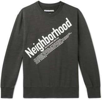 Neighborhood Logo-Print Slub Loopback Cotton-Jersey Sweatshirt