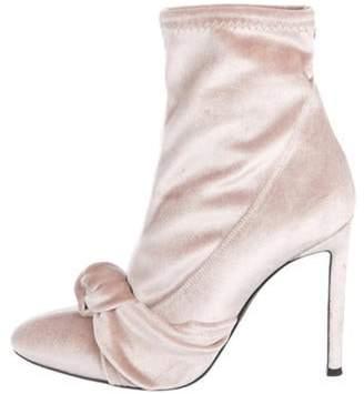 Giuseppe Zanotti Velvet Ankle Booties Pink Velvet Ankle Booties