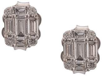Sara Weinstock 18kt white gold Illusion emerald cut diamond stud earrings