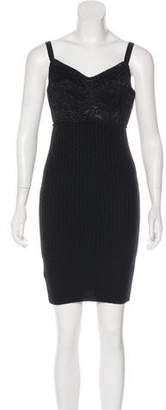 Dolce & Gabbana Lace-Trimmed Knit Mini Dress