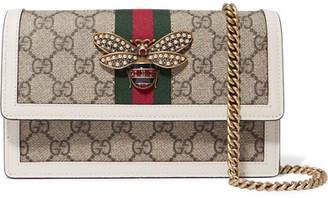 Gucci Queen Margaret Embellished Leather-trimmed Printed Coated-canvas Shoulder Bag - White