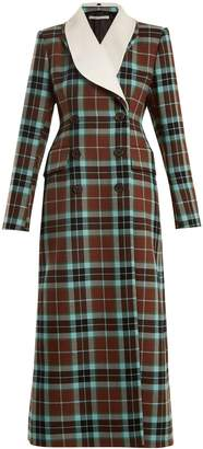 ALESSANDRA RICH V-neck tartan wool dress