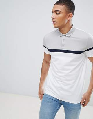 Asos Design DESIGN polo shirt with cut and sew panels in white