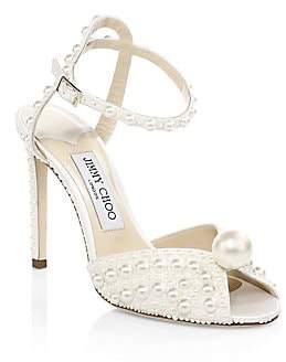 Jimmy Choo Women's Sacora Embellished Satin Peep-Toe Pumps