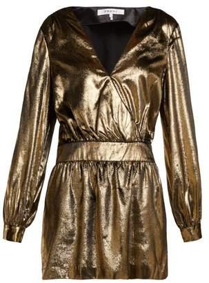 Frame Metallic Velvet Mini Dress - Womens - Gold