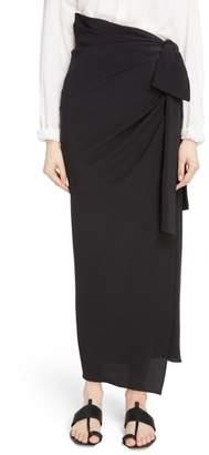 Saint Laurent Side Tie Silk Crepe de Chine Maxi Skirt