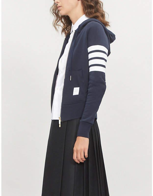 Four stripe cotton-jersey hoody