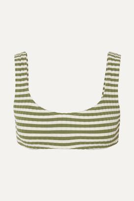 Solid & Striped The Elle Striped Ribbed Stretch Bikini Top - Green