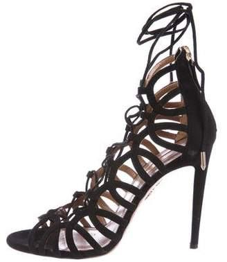 Aquazzura Suede Cutout Lace-Up Sandals