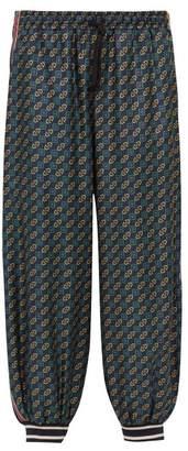 Gucci Horsebit Printed Silk And Velvet Track Pants - Mens - Green Multi