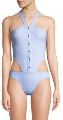 Jonathan Simkhai Collared Oxford One-Piece Swimsuit