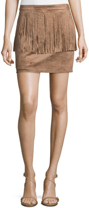Philosophy Mini Fringed Faux-Suede Skirt, Camel $69 thestylecure.com