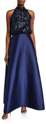 Sachin + Babi Patricia Sequin Halter-Neck Ball Gown